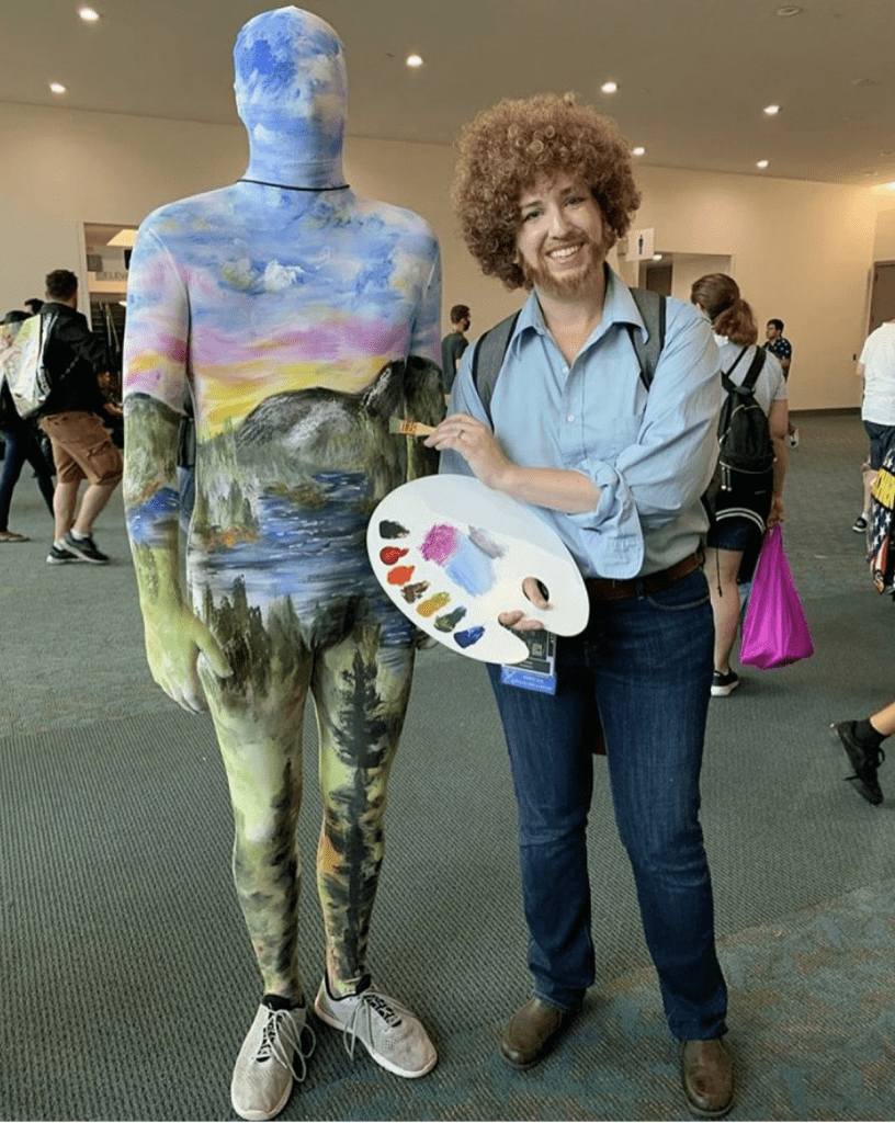 Bob Ross and his canvas from The Joy of Painting